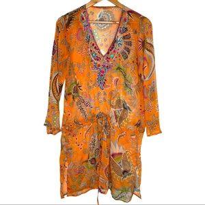 Boho Orange Paisley Floral Beaded Swimsuit Coverup